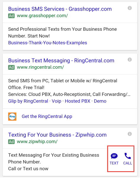 adwords click to text ads 2