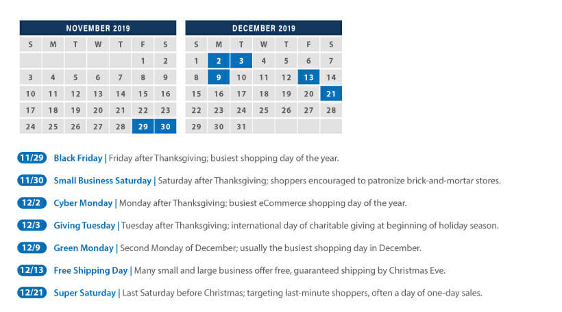 Calendar with the most busy days of the Holidays.