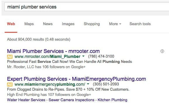 Screenshot of a Google SERP for a Miami Plumber Services Search